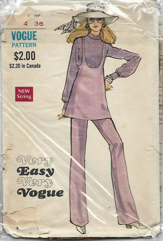1970s Jumper Long SLeeve Blouse & Pants Easy to Sew Vogue 7790 C/C Size 12 Bust 34 Women's Vintage Sewing Pattern