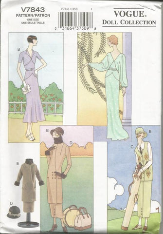 Fashion Doll Clothes 1920s and 1930s Day Evening Dresses & Sport Outfit Vogue 7843 UNCUT FF Doll Clothes Sewing Pattern