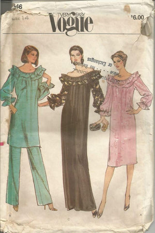 1980s Ruffled Neckline Dress or Tunic & Pants Vogue 7846 Bust 36