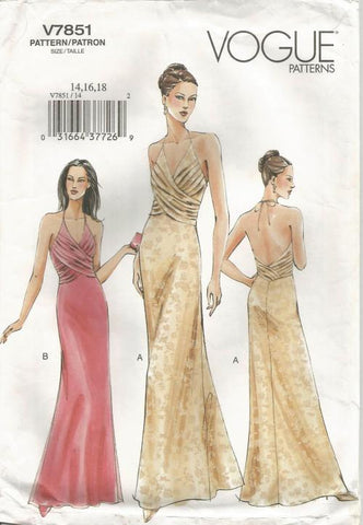 Sexy Backless Halter Evening Dress Pleated Overlay Bodice Full Figure Plus Size Vogue 7851 Sizes 14/16/18 Bust 36/38/40 Women's Sewing Pattern