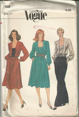 1980s Long Sleeve Dress or Blouse Square Neckline Easy to Sew Vogue 7888 UNCUT FF Size 16 Bust 38 Women's Vintage Sewing Pattern