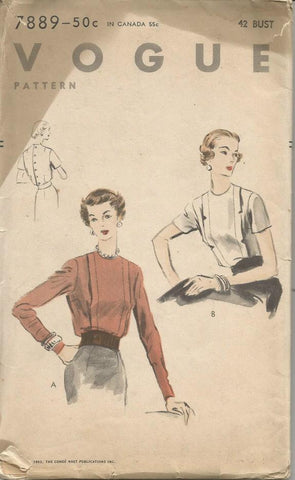 1950s Plus Size Blouse Front Tucks Short or Long Sleeves Vogue 7889 Complete Bust 42 Women's Vintage Sewing Pattern