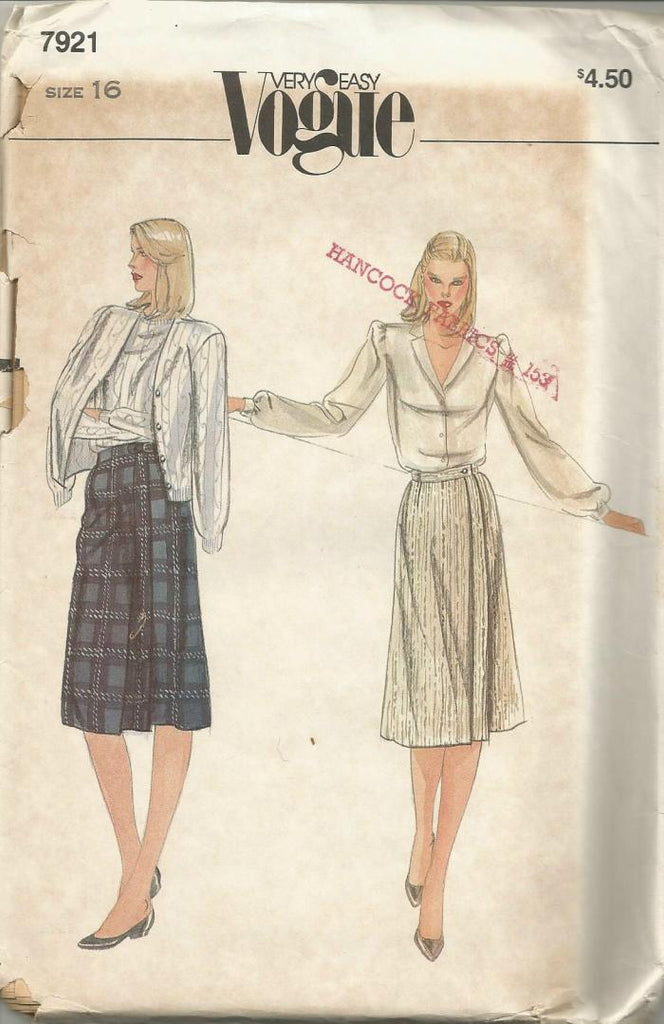 1980s Easy to Sew Front Wrap Skirt Easy to Sew Vogue 7921 UNCUT FF Waist 30 Women's Vintage Sewing Pattern