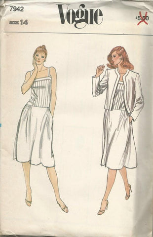 1980s Dropped Waist Pin Tucked Sundress & Jacket Vogue 7942 UNCUT FF Size 14 Bust 36 Women's Vintage Sewing Pattern