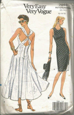 1990s Cocktail Sundress Sheath or Flared Skirt Criss-Cross Straps Easy to Sew Vogue 7988 UNCUT FF Sz 12/14/16 Bust 34/36/38 Women's Vintage Sewing Pattern