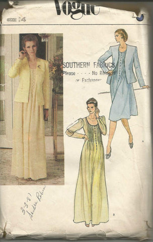 1980s Evening or Day Dress Tucked Bodice Scoop Neck Long Sleeves and Jacket Vogue 7992 UNCUT FF Bust 36 Women's Vintage Sewing Pattern
