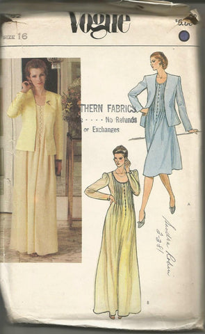 1980s Evening or Day Dress Tucked Bodice Scoop Neck Long Sleeves and Jacket Vogue 7992 UNCUT FF Bust 38 Women's Vintage Sewing Pattern