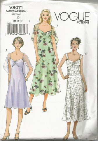 Misses' Lined Sundress or Cocktail Dress Sheer Bodice Overlay Bias Skirt Length Variations Easy to Sew Vogue 8071 UNCUT FF Size 12/14/16 Bust 34,36,36 Women's Sewing Pattern