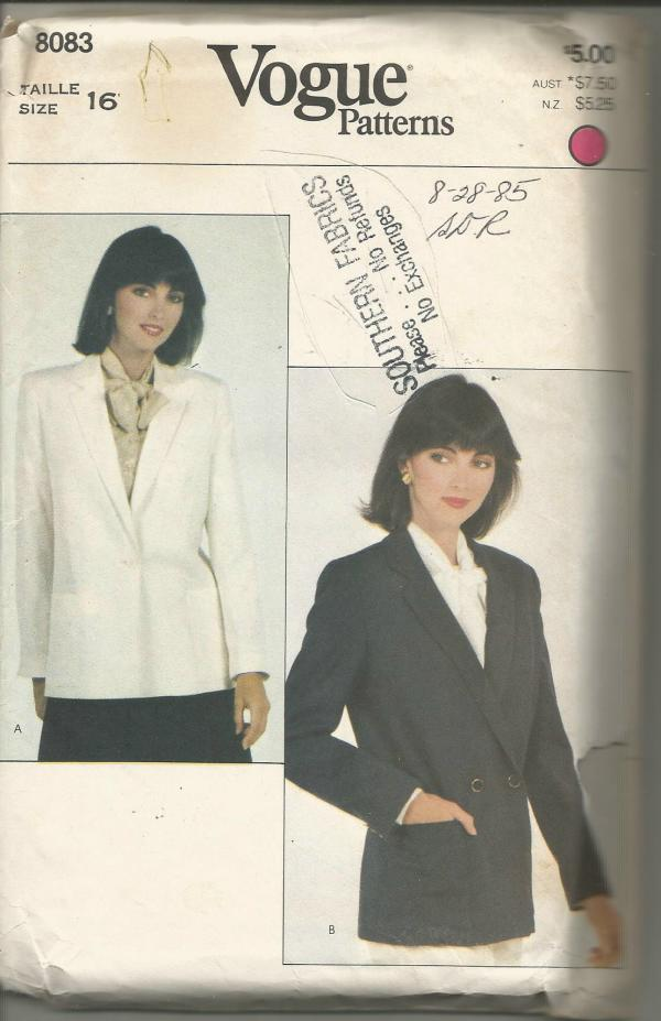 1980s Women's Lined Jacket/Blazer Single or Double Breasted Plus Size Vogue 8083 UNCUT FF Size 16 Bust 38 Women's Vintage Sewing Pattern
