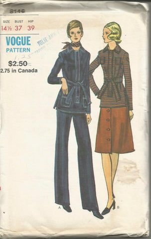 1970s Straight Leg Pants Long Sleeve Front Zip Tunic A-Line Skirt Half Size Vogue 8146 UNCUT FF Bust 37 Women's Vintage Sewing Pattern