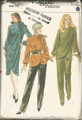 1980s Wrap Dress or Top & Tapered Pants Long Sleeves Shaped Hemline Vogue 8179 UNCUT FF Bust 38 Women's Vintage Sewing Pattern