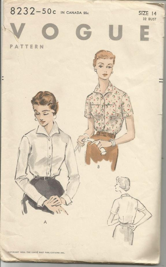 1950s Misses' Tuck In Blouse Long or Short Sleeves Wing Collar Optional Breast Pockets Vogue 8232 Bust 32 Women's Vintage Sewing Pattern