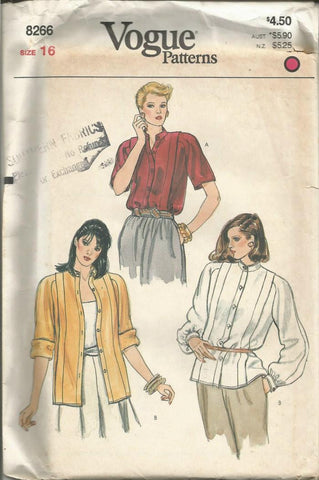 1980s Women's Blouse Short or Long Sleeves Band Collar Vogue 8266 UNCUT FF Size 16 Bust 38 Women's Vintage Sewing Pattern