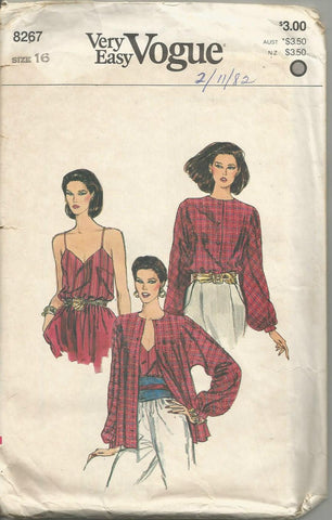1980s Camisole and Long Sleeve Blouse Easy to Sew Full Figure Plus Size Vogue 8267 UNCUT FF Size 16 Bust 38 Women's Vintage Sewing Pattern