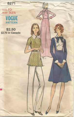 1970s Mod Dress in Two Lengths, Tunic, Pants Short or Long Sleeves Vogue  8271 Bust 32.5 Women's Vintage Sewing Pattern