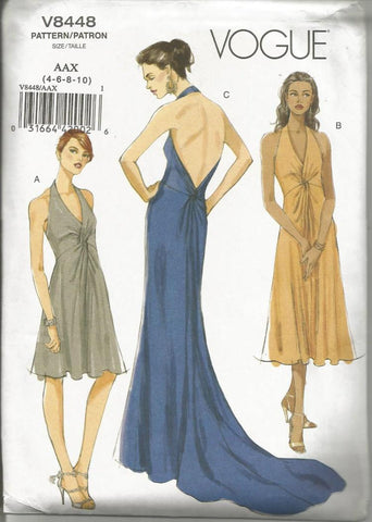 Plunging V Neckline Backless Sexy Halter Evening/Wedding Dress with Train or Day Length For Stretch Knits Only Vogue 8448 UNCUT FF Sizes 4 - 10 Bust 29.5 - 32.5 Women's Sewing Pattern