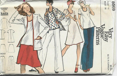 1970s Casual Wardrobe Jacket Dress Top Skirt Pants Easy to Sew Suitable for Knits Vogue 8569 UNCUT FF Bust 36  Women's Vintage Sewing Pattern