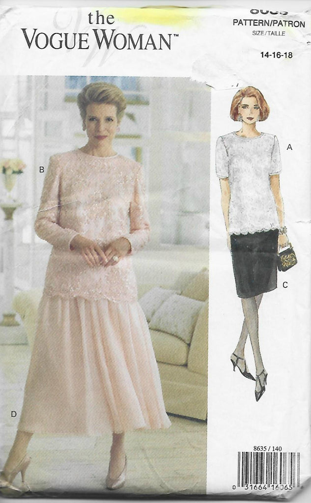 Vogue 8635 Easy to Sew Top & Skirt in Two Lengths UNCUT FF Bust 36,38,40