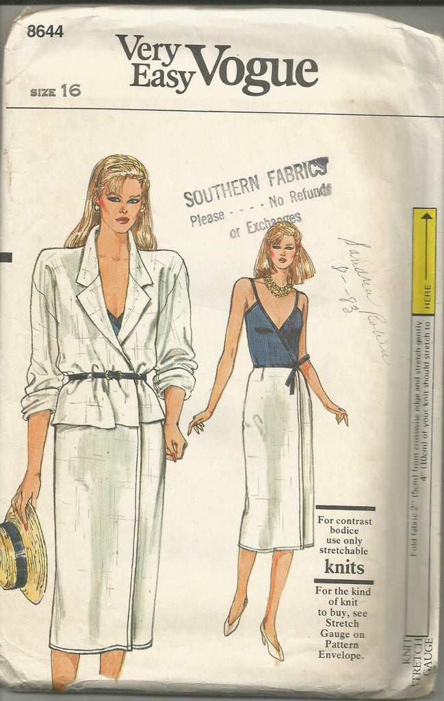 1980s Wrap Dress and Jacket Easy to Sew Pattern Vogue 8644 UNCUT FF Bust 38