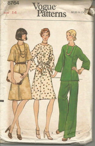 1970s A-Line Dress or Tunic & Straight Leg Pants Kimono Sleeves Vogue 8764 UNCUT FF Size 14 Bust 36 Women's Vintage Sewing Pattern