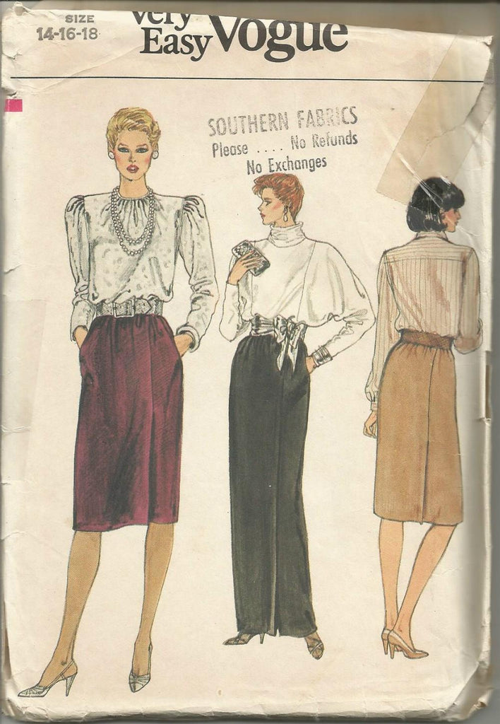 1980s Skirt Day or Evening Length Easy to Sew Vogue 8808 UNCUT FF Size 14/16/18 Waist 28/30/32 Women's Vintgae Sewing Pattern