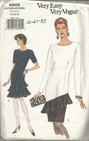 1990s Flounced Dress Short or Long Sleeves Easy to Sew Vogue 8846 UNCUT FF Bust 36 38 40 Women's Vintage Sewing Pattern