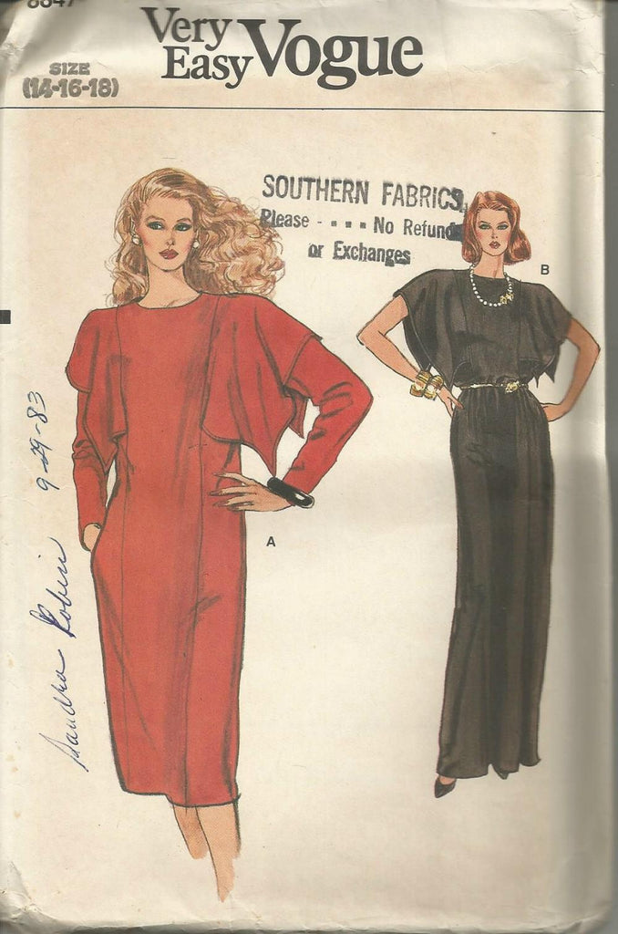 1980s Pullover Dress Evening or Midi Length Shoulder Flange Cap or Long Sleeves Easy to Sew Vogue 8847 UNCUT FF Sz 14/16/18 Bust 36/38/40 Women's Vintage Sewing Pattern