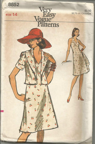 1970s Halter Top Sundress & Jacket with Shawl Collar Easy to Sew Vogue 8852 Size 14 Bust 36 Women's Vintage Sewing Pattern