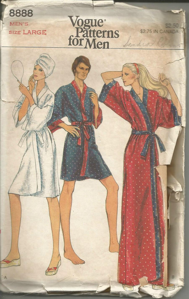 1970s Men's Robe & Belt Shaving Coat Vogue 8888 UNCUT FF Size Large Chest 42-44 Men's Vintage Sewing Pattern