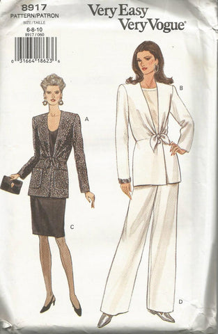 1990s Jacket Slim Skirt Pants Easy to Sew Vogue 8917 UNCUT FF Bust 30.5/31.5/32.5