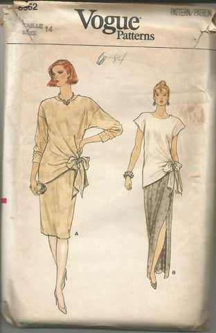 1980s Top And Evening/Day Skirt Vogue 8962 UNCUT FF Bust 36