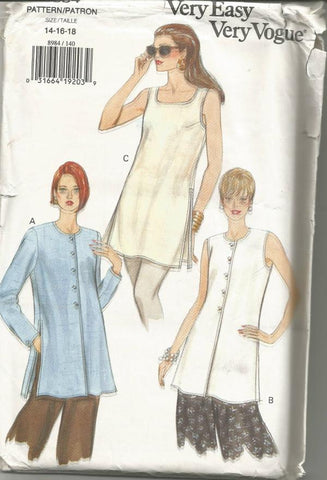 1990s Women's Top Sleeveless or Long Sleeves Neckline Variations Easy to Sew Vogue 8984 UNCUT FF Bust 36-38-40