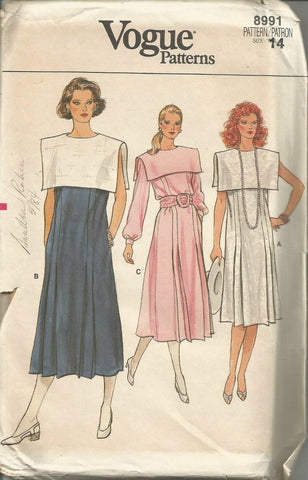 1980s Flared Dress with Bib Collar Sleeveless or Long Sleeves Vogue 8991 UNCUT FF Sz 14 Bust 36 Women's Vintage Sewing Pattern