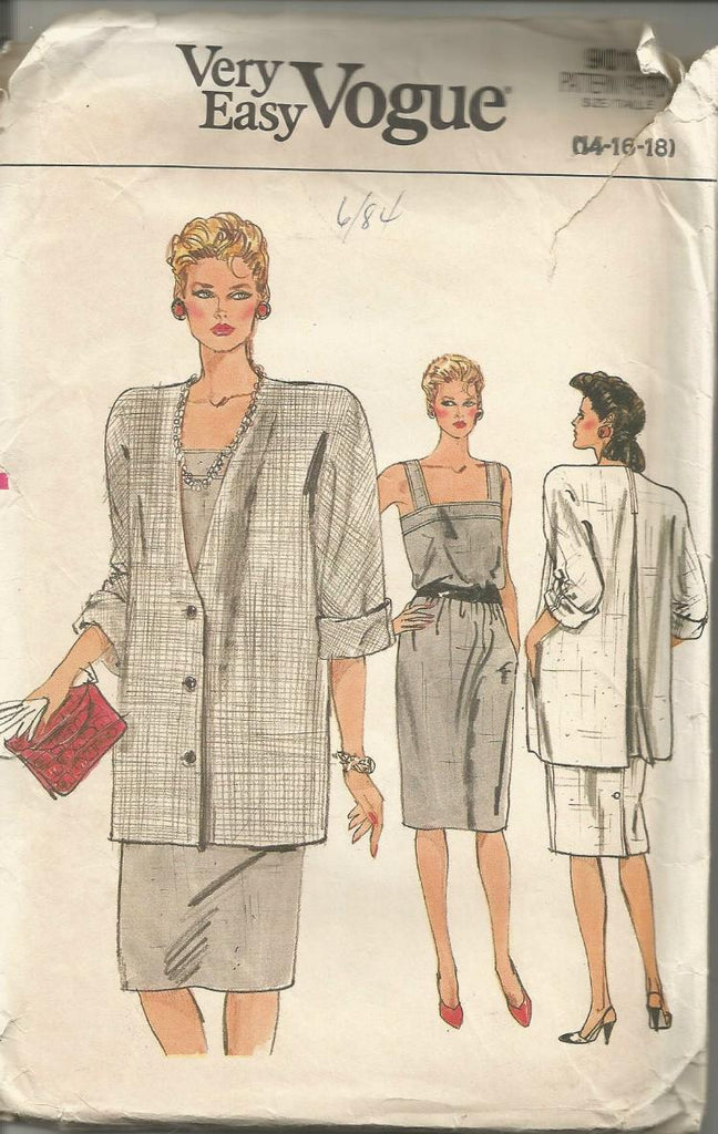 1980s Straight Sundress with Upper Band and Unlined Jacket Easy to Sew Vogue 9012 UNCUT FF Sizes 14/16/18 Bust 36/38/40 Women's Vintage Sewing Pattern