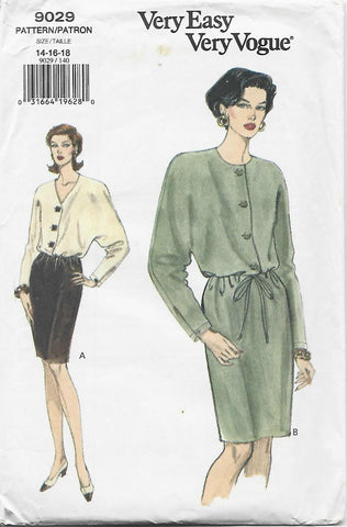 1990s Blouson Dress V Neck Long Batwing Sleeves Easy to Sew Vogue 9029 UNCUT FF Bust 36-38-40 Women's Vintage Sewing Pattern