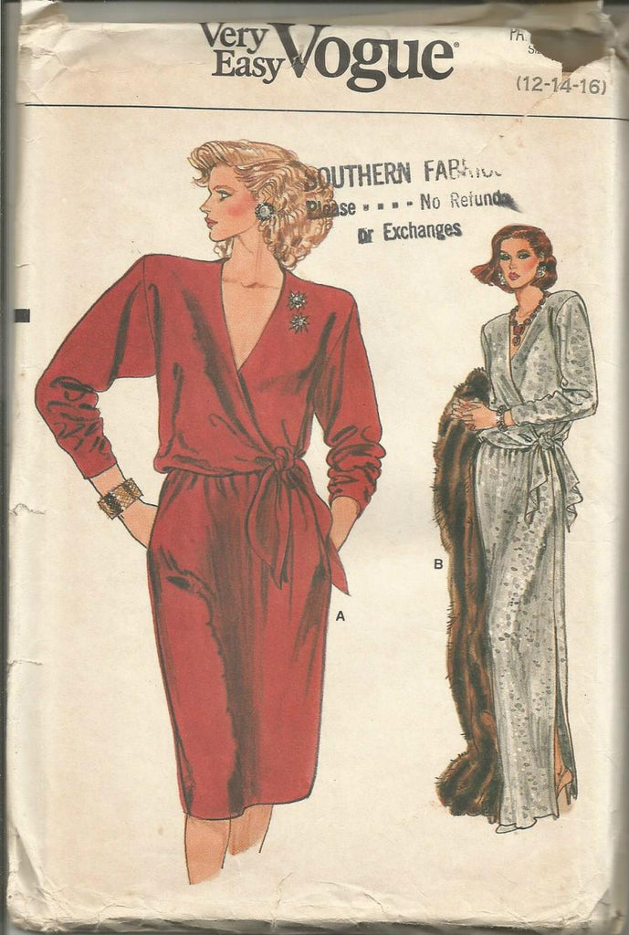 1980s V Neck Mock Wrap Evening/Cocktail/Day Dress Long Sleeves Easy to Sew Vogue 9039 UNCUT FF Sizes 12-14-16 Bust 34-36-38 Women's Vintage Sewing Pattern