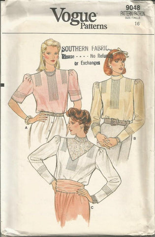 1980s Blouse Collarless or Standing Collar Sleeve Variations Tucked Front & Sleeves Vogue 9048 UNCUT FF B 38 Women's Vintage Sewing Pattern
