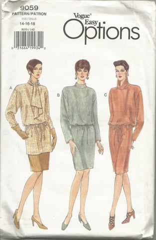 1980s Straight Pullover Dress, Tunic & Skirt Easy to Sew Vogue 9059 UNCUT FF Size 14-16-18 Bust 36-38-40