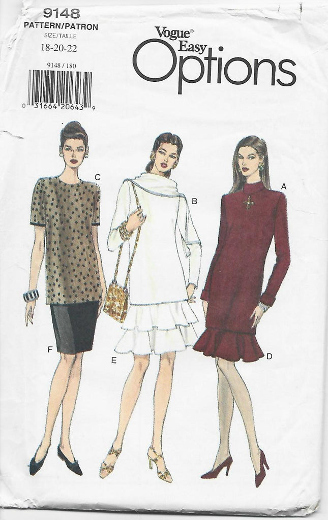 1990s Lined Tunic in 3 Lengths and Skirt with Flounce Option Vogue 9148 UNCUT FF Easy to Sew Size 18/20/22 Bust 40/42/44 Women's Vintage Sewing Pattern