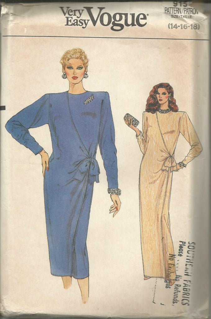 1980s Evening/Day Dress Easy to Sew Vogue 9154 UNCUT FF Bust 36/38/40