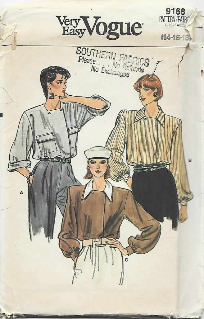 1980s Long Sleeve Blouse Asymmetrical Closing Easy to Sew Vogue 9168 UNCUT FF Bust 36-38-40 Women's Vintage Sewing Pattern