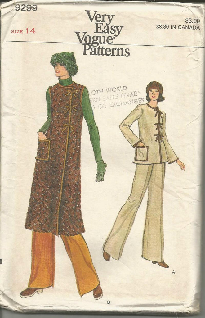 1980s Dress or Top with Side Front Tie Closing & Pants Easy to Sew Vogue 9299 UNCUT FF Size 14 Bust 36 Women's Vintage Sewing Pattern