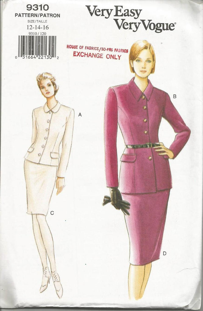 1990s Women's Suit Lined Fitted Jacket Slim Skirt Easy to Sew Vogue 9310 UNCUT FF Sizes 12-14-16 Bust 34-36-38 Women's Vintage Sewing Pattern