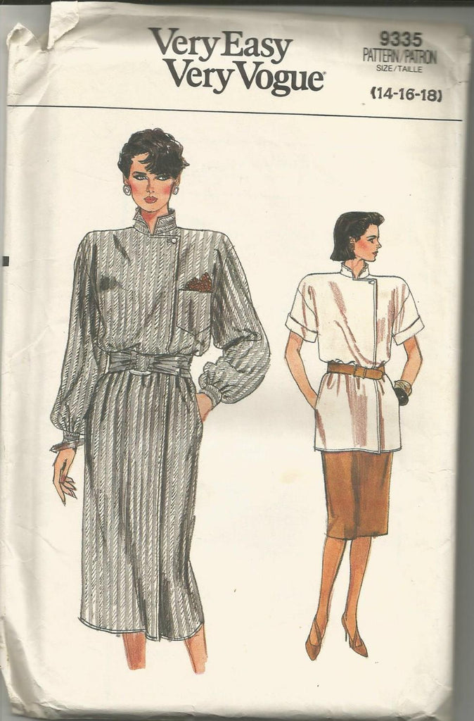 1980s Wrap Dress or Top and Straight Skirt Easy to Sew Vogue 9335 UNCUT FF Sizes 14/16/18 Bust 36/38/40 Women's Vintage Sewing Pattern