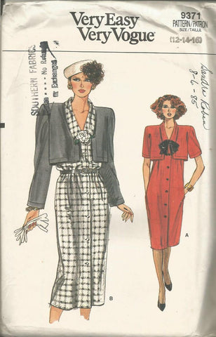 1980s Straight Dress V Neck Short/Long Sleeves Faux Bolero Easy to Sew Vogue 9371 UNCUT FF Bust 34/36/38