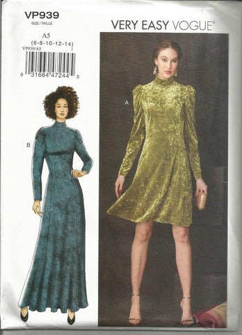 Womens Princess Dress High Neckline Long Sleeves Day or Evening Length For Stretch Knits Only Very Easy to Sew Vogue 929/9264 UNCUT FF Sizes 6-14 Bust 30.5-36 Women's Sewing Pattern