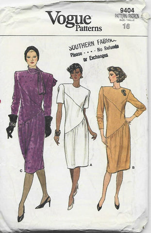 1980s Straight Dress Diagonal Seams Sleeve Variations Vogue 9404 UNCUT FF Size 16 Bust 38 Women's Vintage Sewing Pattern