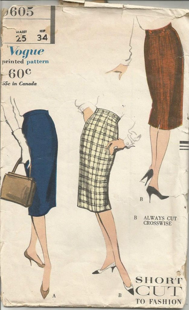 1950s Slim Skirt Dart Fitted Easy to Sew Pattern Vogue 9605 Waist 25 Hip 34 C/C Women's Vintage Sewing Pattern
