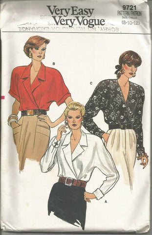 1980s Wrap V Neck Blouse Long or Short Kimono Sleeves Easy to Sew Vogue 9721 UNCUT FF Sizes 8/10/12 Bust 31.5/32.5/34 Women's Vintage Sewing Pattern