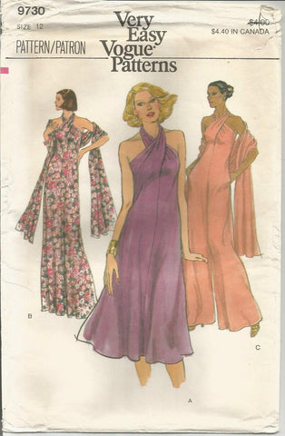 1970s Evening Dress Jumpsuit or Cocktail Dress Criss Cross Halter Top Stole Easy to Sew Vogue 9730 UNCUT FF Bust 34 Women's Vintage Sewing Pattern Copy #1